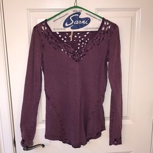 Free People crochet, long sleeve